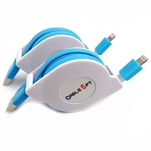 HagieNu 2 Packs Extra Long 6ft Retractable USB Charger Cable Cord Retractable Phone Charging Cable Compatible with Phone 11 Pro Max/XS MAX/8 Plus/XR/7 Plus (Blue)