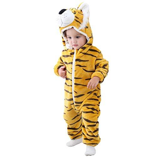 YOUJIAA Bébé Unisexe Barboteuse Filles Garçons Combinaison Flanelle à Manche Longue Pyjama à Capuche (Jaune Tigre #1, 70)