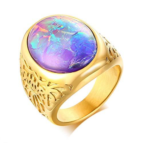 ANAZOZ Ring Herren Vintage Siegelring Bandring Edelstahl Gold Eheringe Verlobungsrings Hochzeitsringe Größe 54 (17.2)