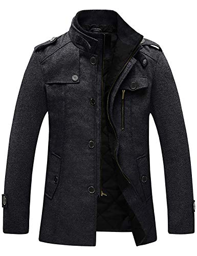 Wantdo Men's Pea Coat Casual Wool Blended Jacket Overcoat Thick Black XX-Large