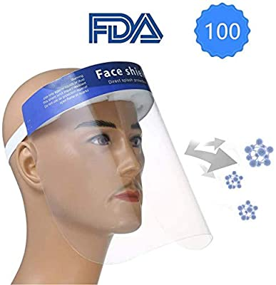 ?FDA Approved?100PCS Plastic Face Shield Protect Eyes and Face with Full Protective Clear Film Elastic Band and Comfort Sponge Dental Face Shield for Men Women