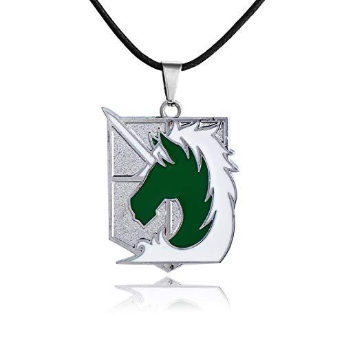 Accesorios De Película De Anime Attack On Titan Collar De Aleación De La Serie Army Police Corps Green Unicorn Anime Colgante De Joyería