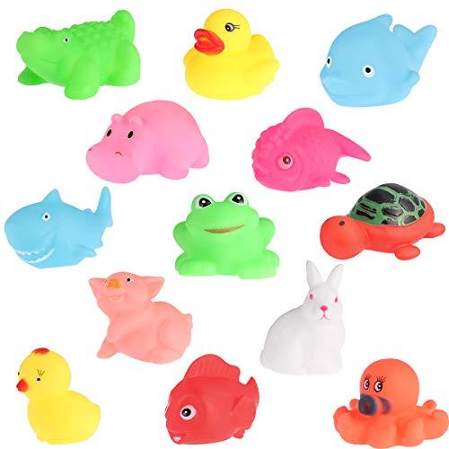 Toyvian Giocattoli da Bagno Divertimento Animali marini Galleggianti Giocattoli da Bagno Morbidi per Neonati 13 Pezzi