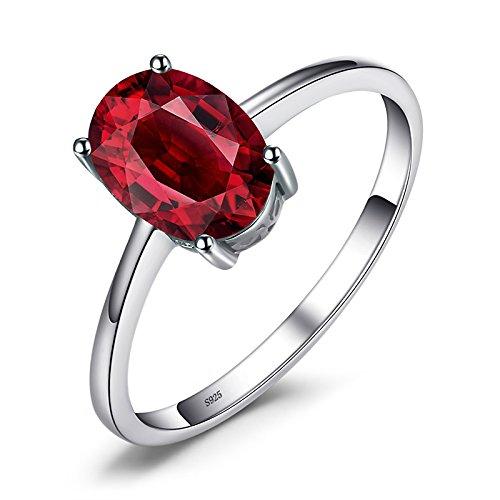 JewelryPalace オーバル 1.67ct 天然石 赤 ガーネット リング 1月 誕生石 ソリティア シルバー 925 指輪 レディース 人気 サイズ 14号