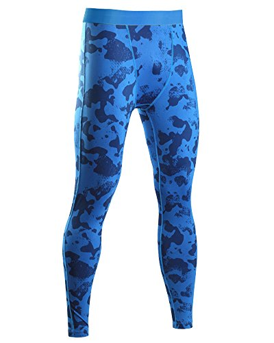 SaiDeng Uomo Camuffare Jogging Sports Pantaloni Compressione Quick Dry Leggings Blu XL