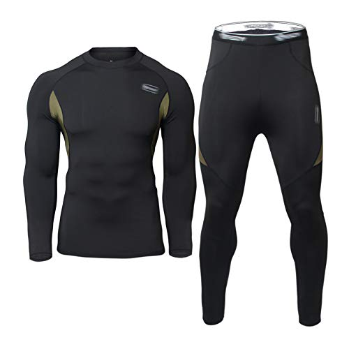 JoofEric Men's Thermal Underwear Set Fleece Lined Top and Bottom Warm Long Johns Winter Sport Suits (Black, M)