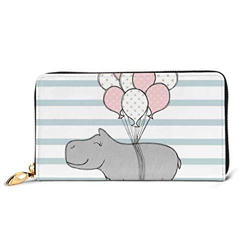 Hippo With Balloon portemonnee van echt leer, lange portemonnee, van metaal, met ritssluiting, voor heren, grote inhoud, multifunctioneel