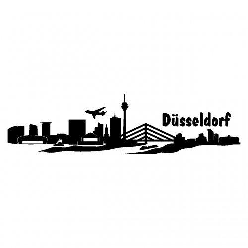 Skyline4u Aufkleber Düsseldorf mit Sehenswürdigkeiten in 8 Größen und 25 Farben (20x5,1cm schwarz)