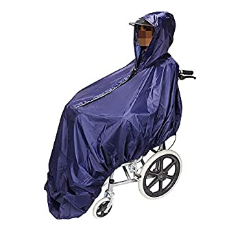 Wheelchair Winter Rain Poncho for The Elderly,Waterproof Raincoat with PVC Layer & Highlight Reflective Strip,One Size Fits The Most,Thickness 18mm,Navy 1910YLL0078
