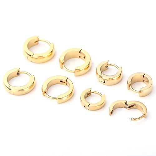 Zysta Schmuck 4 Paare 7-9mm 18G Herren Damen Huggie Ohrringe Creolen Piercingset aus Chirurgenstahl Ohrstecker Ohrpiercing Piercingset Silber/Schwarz/Gold (Gold)