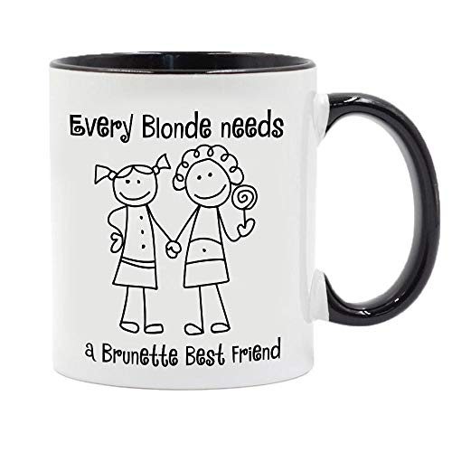 Each Blonde Needs A Brunette Best Friend Gift Coffee Cup 11Oz Ceramic Coffee Cups and Tea Milk Cups Grill Friends Birthday Gift-Black_301-400Ml