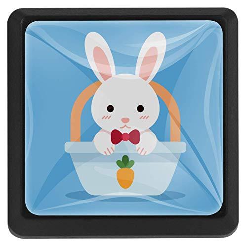 Vierkante ladeknoppen, 3 Packs 37mm Trekhendels met Bunny in Mand, Gebruikt voor Slaapkamer Dressoir Deur Kast Keuken Modern design 37x25x17mm/1.45x0.98x0.66in Bunny in mandje
