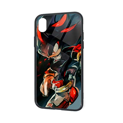 Tempered Glass Back iPhone XR Cases, Soft TPU Raised Edge Fashion Bumper, Shockproof Scratch Proof Full Protective Case Cover for iPhone XR, Angry Shadow The Hedgehog Painting