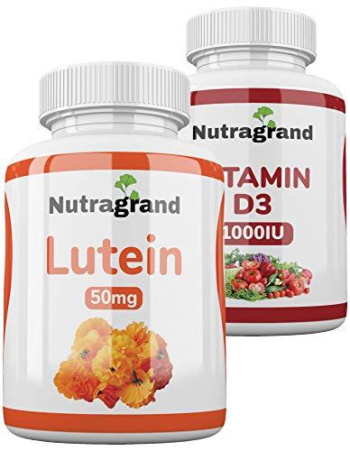 Lutein 50mg UK Manufactured 1 Year Supply 360 Vegan Tablets Plus Bottle of Vitamin D3-1000iu