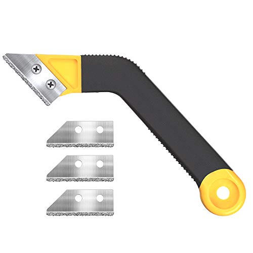 Muf 1 Pack Tile Grout Saw Grout Removal Tool, Angled-Design Grout Hand Saw with 4 Diamond Surface Blades (Include 3 PCS Extra Blades) for Tile Cleaning, Removing Paint and More