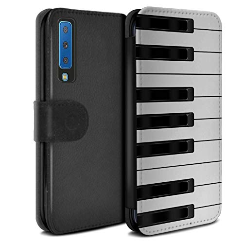 eSwish PU-Leder Hülle/Case/Tasche/Cover für Samsung Galaxy A7 2018/A750 / Klavier/Piano Muster/Schaltfläche/Tasten Kollektion