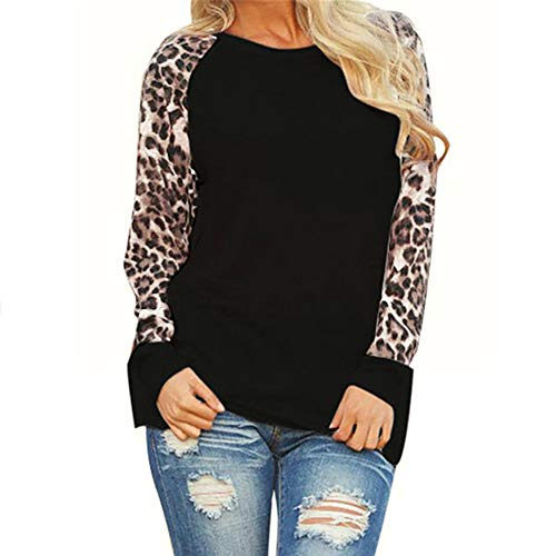Fantastic Prices! IEasⓄn Women Leopard Patchwork Long Sleeve Blouse Fashion Loose T-Shirt Tops Bla...