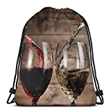 LREFON Sac À Cordon Gym Boissons au vin avec bouteilles en verre lavable en machine voyage sportsac à dos sac de jeu sac Danse Sac À Dos pour 36*42cm