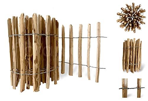 Floranica® imprägnierter Gartenzaun | Staketenzaun | Länge: 1 lfm | Höhe: 50 cm | Lattenabstand: 4-6 cm | Holz: Nussbaum | 35 Größen | Holzzaun | Palisade