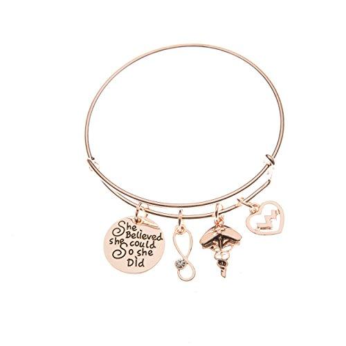 Infinity Collection Nurse Bracelet, Rose Gold Nurse Charm Bracelet, Nurse Jewelry, Makes Perfect Nurse Gifts