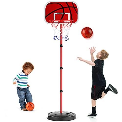 URBZUE Basketballständer für Kinder, höhenverstellbare basketballkorb, 150CM Basketballbrett mit Basketball Netz Set, Outdoor- und Indoor-Basketballkorb Spielset für Kinder 3+ Spielzeug Geschenk