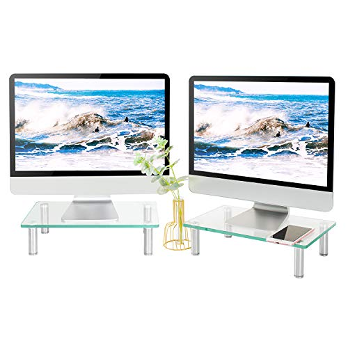 5Rcom Computer Double Monitor Riser Stand Clear Tempered Glass Desk Risers Multi Desktop Stand with Height Adjustable Legs for Laptop Dual Monitors Flat Screen TV Component-2 Pack