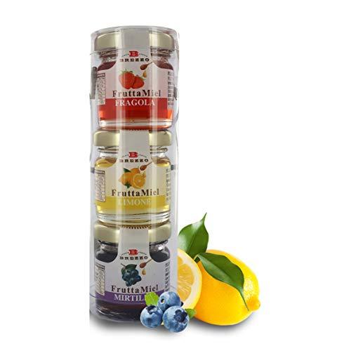 Brezzo Surtido Degustación de FruttaMiel, 3 Purés De Fruta con Miel De Acacia - 114 Gramos