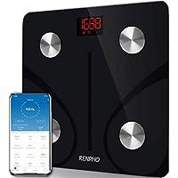 Báscula de Baño Digital Grasa Corporal, RENPHO Balanza Bluetooth Inteligente con App, Báscula Electrónica Analógica Monitores con Análisis Corporal, 13 Mediciónes de Peso IMC Visceral e Muscular