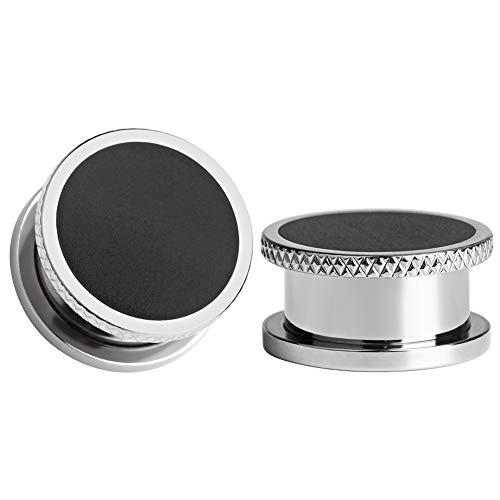 KUBOOZ Piercing para dilatador de oreja de goma negra con tornillo de acero en relieve de 1,5 cm