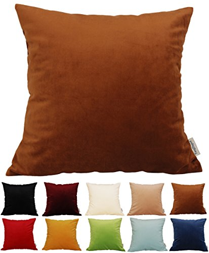 TangDepot Solid Velvet Throw Pillow Cover/Euro Sham/Cushion Sham, Super Luxury Soft Pillow Cases, Many Color & Size Options - (12'x12', Chocolate)