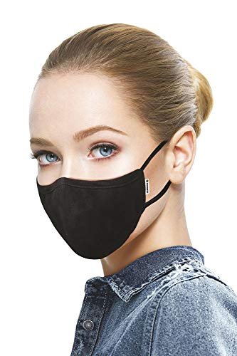 Carrera Jeans - Maschera nera per il viso, Made in Italy, Filtro a nanotubi di carbonio, Lavabile e Riutilizzabile, puro Cotone Pieghevole, contro Polvere e Polline