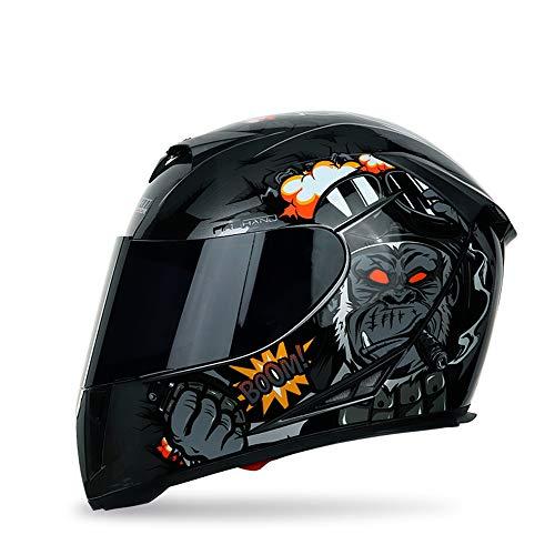 Motorradhelm Integralhelm Damen Herren Roller Helm mit Doppelvisier Sonnenblende, ABS Schale, ECE Zertifiziert,Schwarz,XXL