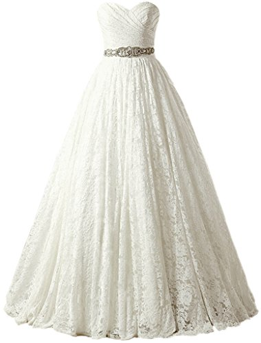 SOLOVEDRESS Women's Ball Gown Lace Princess Wedding Dress 2017 Sash Beaded Bridal Evening Gown (Customized Size,Ivory)