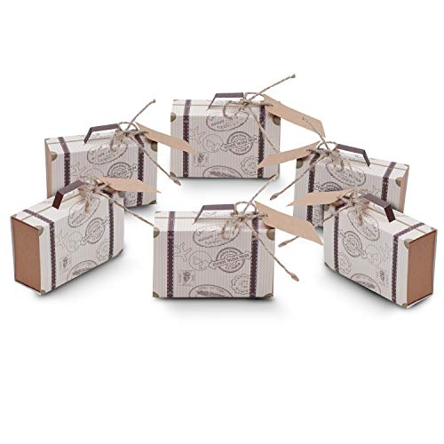 Cajas para Favores Mini Maletas Viaje - Regalos de Caramelos Invitados (50 Piezas) W7.5cm(2.95') x 5cm(1.96)...