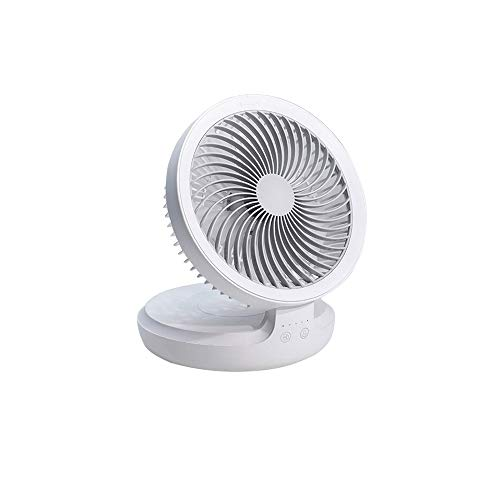 KOIUJ Fans USB mit Nacht Breathing Light Air Zirkulator 90-Grad-Drehung Faltbarer Ventilator, 4-Gang, for Haus, Büro, Reisen, Camping, Outdoor, Weiss