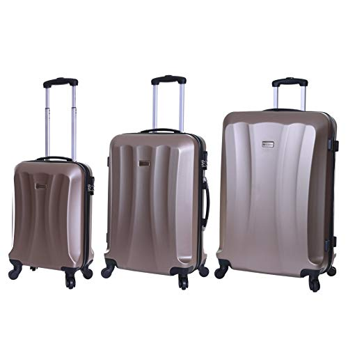 Slimbridge Luggage Set of 3 Hard ABS Shell Suitcases Large Medium and Carry On 4 Wheels Number Lock, Lydd Beige