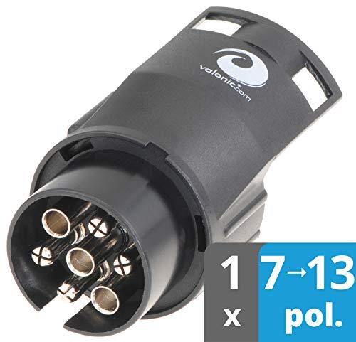valonic Anhänger Adapter | 7 auf 13 polig | schwarz | Auto zu Hänger | für Pkw, Kfz und LKW | kurz | Anhängerkupplung, Adapterstück