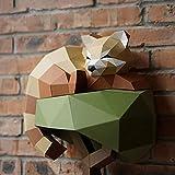 GHJA Rama Oso 3D Modo de Papel Origami Papel de Bricolaje Arte Artesanía 3D Animal Montado en la Pared Escultura de Bricolaje Rompecabezas Juguetes de Papel Artesanía Rompecabezas de Actividad