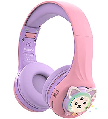 Riwbox Baosilon CB-7S Kids Headphones Wireless/Wired with Mic, Light Up Bluetooth Foldable Headphones Over Ear Volume Limited Safe 75/85/95dB with TF-card, Children Headphones for School(Purple&Pink) from Riwbox