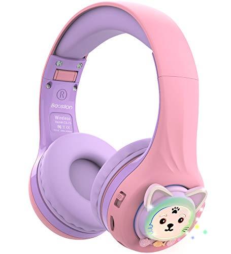 Riwbox Baosilon CB-7S Kids Headphones Wireless/Wired with Mic, Light Up...