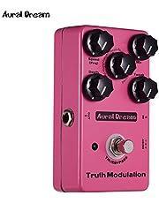 JJmooer True Modulation Pedal de efecto de guitarra 8 modos de sonido que incluyen Flanger/Chorus/Vibrato/Tremolo/Doubling/Phase/Ring/Pitchshift Carcasa de aleación de aluminio con