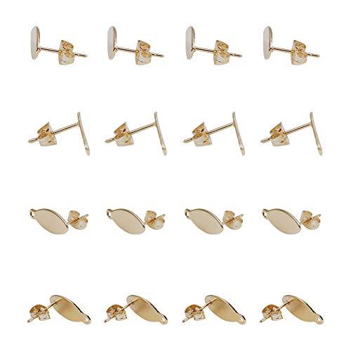 PandaHall Elite 10 Coppie Componenti Orecchini Basi Orecchini con Backs in Acciaio Inox 304 per Orecchini Fai da Te, Placcato in Oro