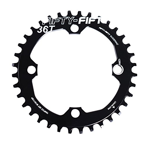 FIFTY-FIFTY 104BCD Narrow Wide Plato 30/32/34/36 Dientes Single Chain Ring for 9/10/11 Speed Círculo 104 mm con 4 tornillos de aluminio negro 34T
