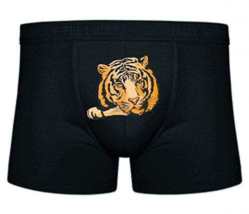 Druckerlebnis24 Boxershort Tiger Löwe liegt auf Pfote Raubtiere Wildnis Savanne Afrika Dschungel S- XXL Sexy Unterhose Slip Shorts