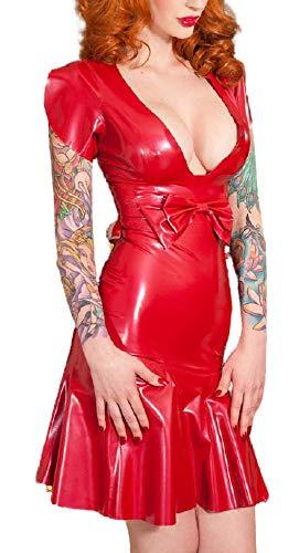 Caucho de látex ajustado delgado de una sola pieza vestidos plisados profundo cuello en V abierto Sexy frente Bowknot modificado para requisitos particulares 0.4mm - rojo - Medium