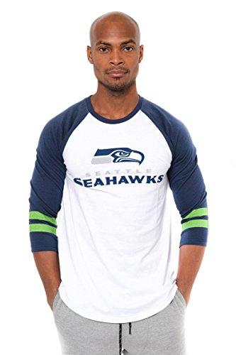 Ultra Game NFL Seattle Seahawks Mens Raglan Baseball 3/4 Long Sleeve Tee Shirt, White, X-Large