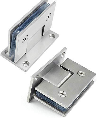Abrazadera de baño de servicio pesado de 90 grados, paquete de 2, bisagra de puerta de vidrio de acero inoxidable Abrazadera de bisagra de puerta de vidrio fija cuadrada bidireccional