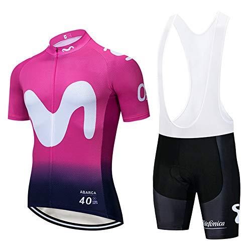 Maillots Ciclismo Hombre Manga Corta Transpirable Secado Rápido con 3D Acolchado Gel Culotes Pantalones Cortos Conjunto de Ropa Ciclismo