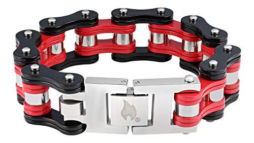 Zippo Herren Black & red Bike Chain Bracelet Charm-Armbänder, Schwarz, 18 cm