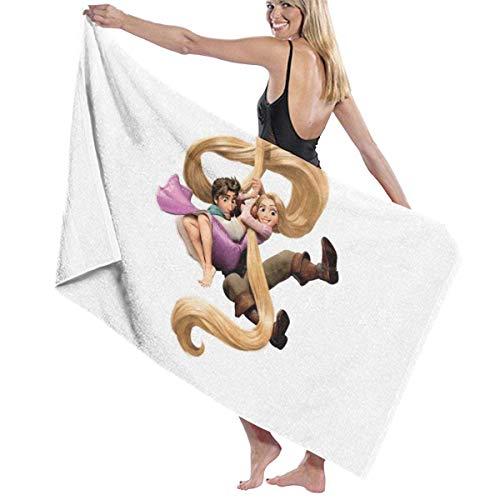 Shenguang Ta-ng-led Ra-Pun-zel toallas de baño de microfibra impresas antidecoloración de gran tamaño, suaves y absorbentes, adecuadas para baños, piscina, playa, spa, cubrir toallas de baño